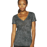 Ladies' Burnout Deep V Neck
