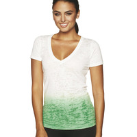Ladies' Ombre Burnout V Neck